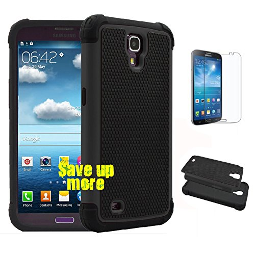 Galaxy Mega 6.3 I9200 Case, [Non-Slip] [Slim Perfect-Fit] [Drop Protection] [Shock-Absorption] [Impact Resistant] Hybrid Dual Layer Mega 6.3 Case, [Hard Plastic with TPU/ Soft Silicone] Protective Case Rubber Bumper Slim Cover Case for Samsung Galaxy Mega 6.3 I9200 + Screen Protector (Black) (Bumper For Samsung Mega compare prices)