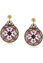 """Sorrelli """"Pink Orchid"""" Crystal Detailed Filigree French Wire Gold-Tone Drop Earrings"""