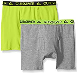 Quiksilver Little Boys\' Boxer Brief, Yellow/Gray, Small/6/7 (Pack of 2)