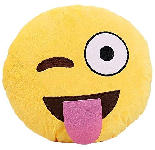 Ama-ZODE Weiche Emoji Smileyemoticon Yellow Round Kissen-Kissen-Plüsch Spielzeug-Puppe (Teasing große Zunge)