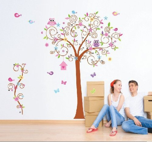 Hunnt® Super Large 70.8''X66.9'' Colorful Owl Big Bending Tree Wall Stickers Removable Wall Decal Sticker,Super For Girls And Boys Nursery Baby Room Children'S Bedroom