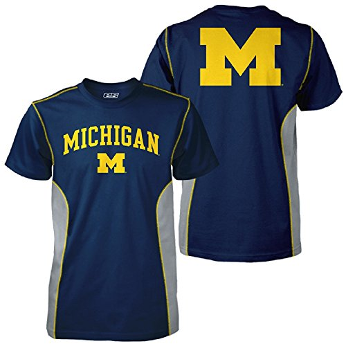 Michigan-Wolverines-E5-FLARE-2-POLY-T-Shirt-Navy