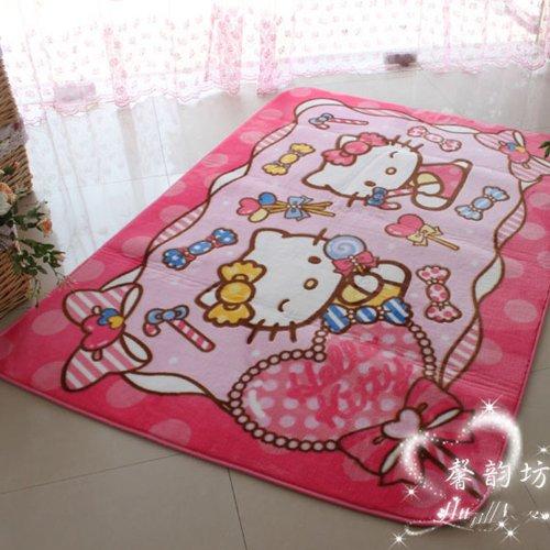 FADFAY Cute Hello Kitty Area rug Pink Doormat Cartoon Children Crawling Mat Living Room Bed room Carpet