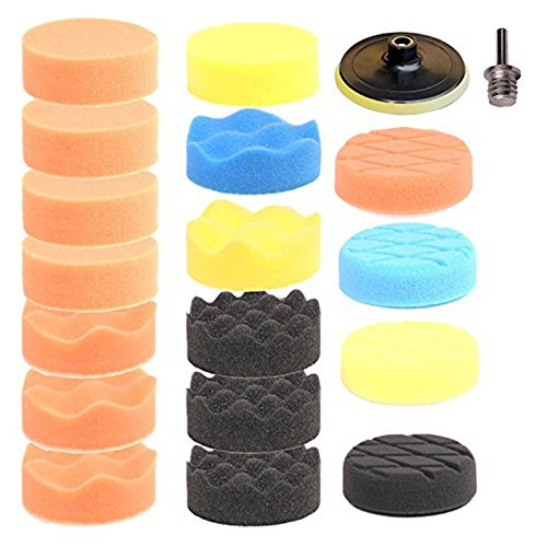 SPTA 3inch (80mm) Higher gross Polish Polishing Buffer Pad Kit For Car Polisher + Drill Adapter - 5/8 Inch-11 thread Pack of 19Pcs (Car Polisher Drill compare prices)