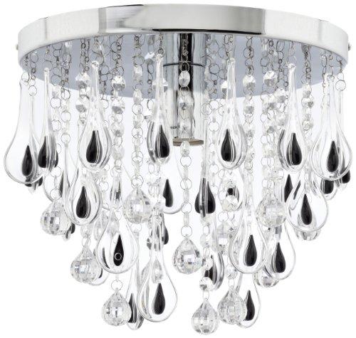Trio Leuchten 600400106 - Lampada da soffitto in cromo e acrilico, 1xE27 non inclusa, max. 60 W, altezza: 26 cm, diametro: 30 cm, colore: Nero/Trasparente