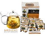 GROSCHE Munich 42 fl oz. 1200ml Glass teapot and 12 premium blooming tea gift set