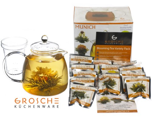 GROSCHE Munich 42 fl oz. 1200ml Glass stove top teapot/kettle and 12 premium blooming tea gift set