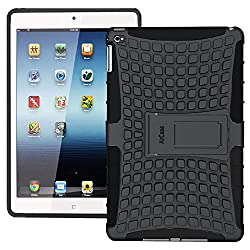 AirCase iPad Air 2 Hybrid Military Grade Armour Defender Series Rugged Back Case Cover with Flip Kick-Stand Case Cover for iPad Air 2 [Black]