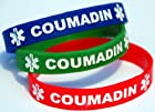 3-pack of Adult Size (8 Inch) Coumadin Medical Alert Silicone Bands White Lettering