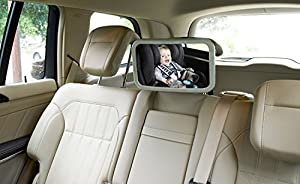 Droiee® Baby Back Seat Mirror [Shatterproof Glass] the Best Baby Car Mirror Rear Facing [With Cleaning Cloth & Traveling Toys for Kids] - Adjustable Back Seat Mirror [ Black]