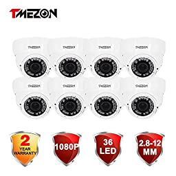 TMEZON 8 Pack Indoor Outdoor HD-CVI 2.0MP 1080P 2.8-12mm Zoom Lens Dome Night Vision Security Camera (White)