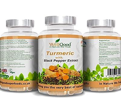 Turmeric with Black Pepper Extract Bioperine ® Capsules | Vegetarian capsules | Additive free 100% Pure | Natural Piperine and Curcumin | Natures Best Anti-Inflammatory