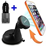 Car Mount, Car Charger AEDILYS® Magnetic Dashboard/Windshield Car Mount Holder for iPhone 6 (4.7)/ iPhone 6 Plus (5.5)/ 5s/ 5c/, Samsung Galaxy S6/S6 Edge/S5/S4 Note 4/3, Google Nexus 6/5/4