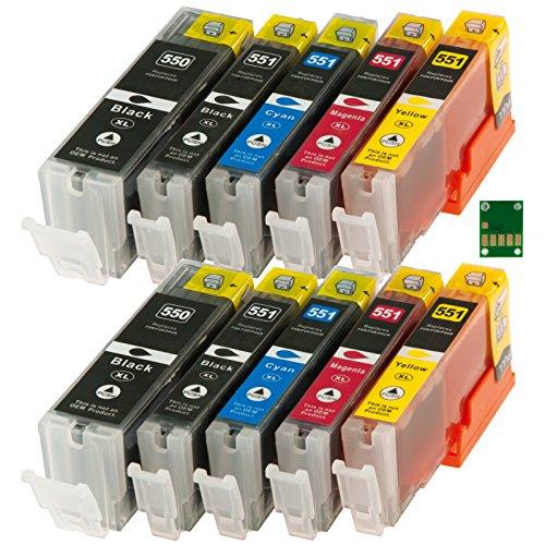 Ti-Sa - 10 Ricariche Cartucce Con Chip, Per Stampanti Canon Pixma Ip 7250, Mg 5550, Mg 5650, Mg 6350, Mg 6450, Mg 7150, Mg 7550, Mx 925 Mx925 Pgi550 Pgi-550 Pgi 550 Cli551 Cli-551 Cli 551 - 2X Bn, Rb, Cia, Ma, Gia - Contenuto: Bianco/Nero Ca. 22 Ml / Colorate Ca. 11Ml
