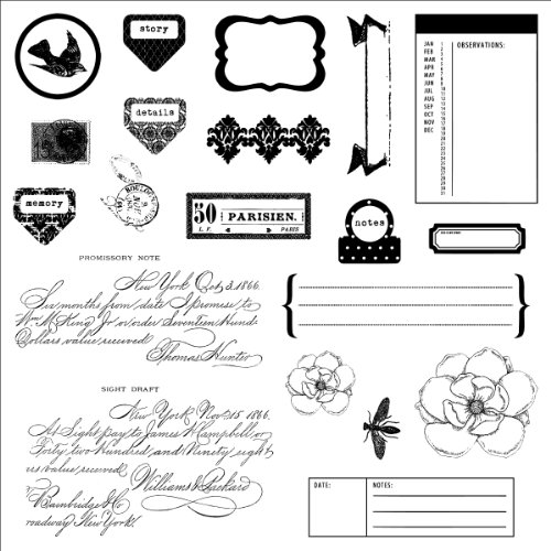 Fiskars 100620-1001 Teresa Collins Simple Stick Rubber Stamps, Moments, 8 by 8-Inch - 1