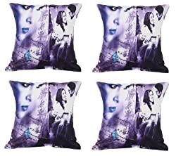 meSleep Painted Couple Happy 4 Piece Cushion Cover Set - Multicolor