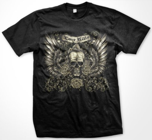 Love Kills Mens Tattoo T-Shirt, Skull Wings And Roses Old School Tattoo Mens Shirt, X-Large, Black
