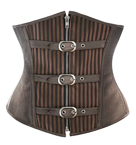 Charmian Women's Spiral Steel Boned Steampunk Gothic Striped Zipper Underbust Corset with Buckles Light Brown Medium