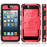 i-Blason Armorbox for Apple iPhone 5C Dual Layer Hybrid Full-body Protective Case with Front Cover and Built-in Screen Protector and Impact Resistant Bumpers (Red)