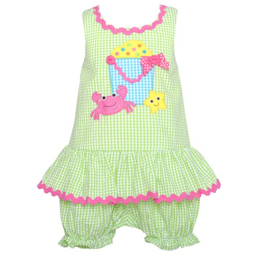 Bonnie Baby Baby-Girls Newborn Bucket And Crap Applique Romper, Lime, 0-3 Months front-1049846