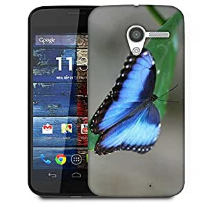 Snoogg Blue And Black Butterfly Designer Protective Phone Back Case Cover For Moto X / Motorola X