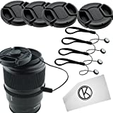 Lens Cap Bundle - 4 Snap-on Lens Caps for DSLR Cameras including Nikon, Canon, Sony - Lens Cap Keepers and CamKix Microfiber Cleaning Cloth included (58mm) ~ CamKix�