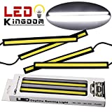 LEDKINGDOMUS 4PCS Waterproof Aluminum High Power 6W Car COB Lights 6000K White LED DRL Daytime Running Light Fog Driving Lamp 12v(white)