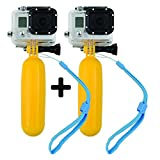 PicPro Floating Hand Grip for GoPro Cameras - Shoot amazing footage on land and in water - Two Lanyards and screws for GoPro cameras included (Yellow, 2 Hand Grips)