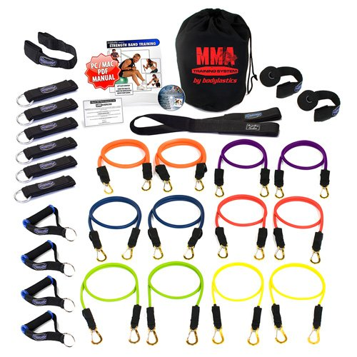 Bodylastics 28 pcs *MMA TRAINING Set (328 lbs.) Quick-Clip Resistance Bands System with 12 anti-snap exercise tubes, Heavy Duty components, carrying case, DVD and FREE 6 month membership to LIVEEXERCISE website