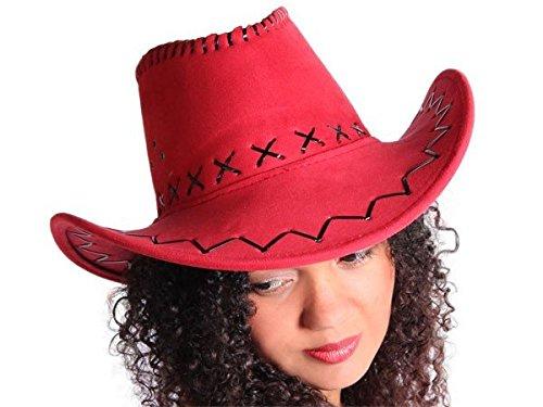 Cappello da cowboy stile western texas australiano rosso (C-07) unisex in camoscio rifinitura pelle accessorio carnevale travestimento festa tempo libero cavaliere