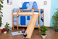 Children's bed / Bunk bed Moritz solid, natural beech wood, includes slide, includes slatted frame - 90 x 200 cm