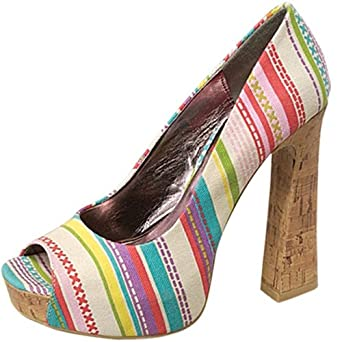 COLORFUL STRIPE PRINT SUMMER PUMP