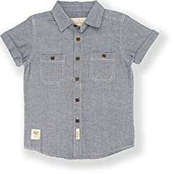 TONYBOY Boys Casual Solid Chambray Shirt (Indigo)