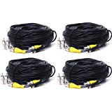 VideoSecu 4 Pack 150 Feet Pre-made All-in-One Video Power CCTV Security Camera Cables with BNC to RCA Adapter Connector 1OA
