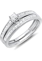 0.75 Carat (ctw) 10k White Gold Princess Diamond Ladies Bridal Engagement Ring Set 3/4 CT