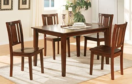 Poundex Chic Modern F2249 Dark Cherry Finish 5 Piece Dining Set Contemporary