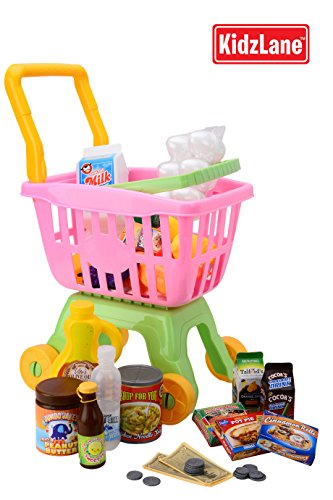Durable Toy Shopping Cart For Kids And Toddlers, With 25 Grocery Items & Play Money, With Detachable Shopping Basket back-33194