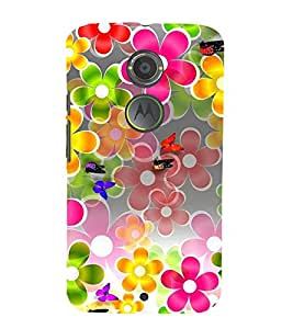 ANIMATED FLOWERS AND BUTTERFLIES DEPICTING THE BEAUTY OF NATURE 3D Hard Polycarbonate Designer Back Case Cover for Motorola Moto X2 :: Motorola Moto X (2nd Gen)