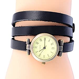 8Years(R) New Vintage Style Bronze Quartz Cool Leather Bracelet Lady Woman Wrist Watch (Black)