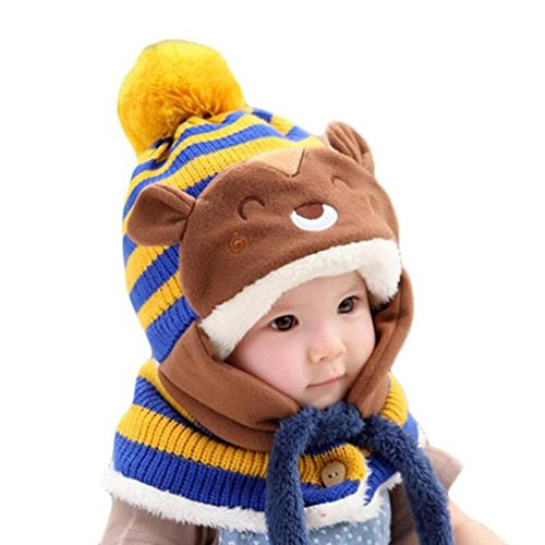 FEITONG Autumn Winter Baby Kids Girls Boys Warm Woolen Coif Hood Scarf Caps Hats (Yellow)