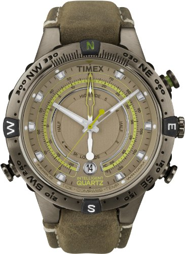 Timex Men's T2N739 Intelligent Quartz Adventure Series Tide Temp Compass Brown Leather Strap Watch