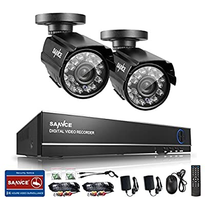 Sannce 4CH Full 960H Realtime CCTV DVR Video Surveillance Recorder with 2x 800TVL Night Vision Weatherproof Outdoor Bullet Cameras - P2P Cloud Remote Viewing, Motion Detection--NO HDD