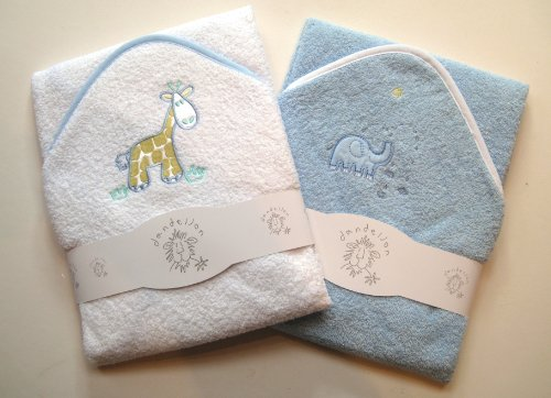 A Set of Two Beautiful Baby Bath Towels - 100% Cotton In Pink or Blue with Cute Animal Appliques (Blue)