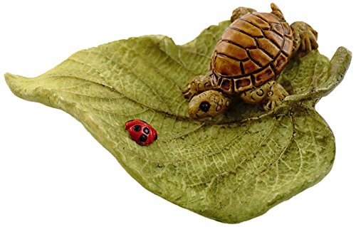 Top Collection Miniature Fairy Garden and Terrarium Statue, Little Turtle on Leaf (Outdoor Miniatures compare prices)