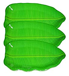 Hua You 11 inch Banana Leaf Shape South Indian Dinner Lunch Serving Melamine Platter Plate For All Occasions - 3 Pcs