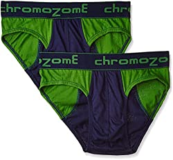 Chromozome Men's Cotton Brief  (8902733317498_BC-02_M_Ink blue & green) (Pack of 2)