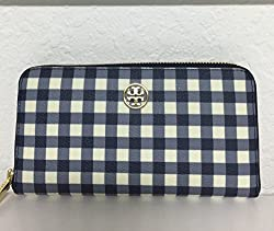 Tory Burch Robinson Printed Zip Around Continental Wallet in Navy Gingham