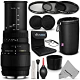 Sigma 70-300mm f/4-5.6 DG Macro Telephoto Zoom Lens for NIKON DSLR Cameras + Essential Filter and Accessory Kit