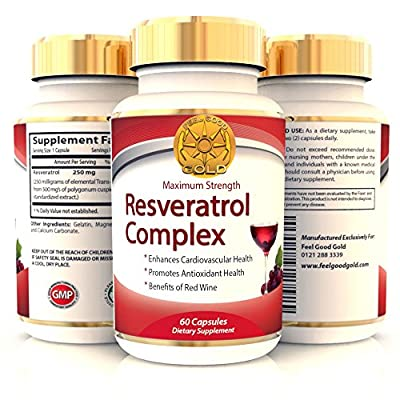 Trans Resveratrol Max Strength 500mg High Potency Antioxidant Supplement | Same Benefits As Grape Seed, Blueberry and Red Wine Polyphenols Extract | Anti Aging | Best Supplements | Look Younger - Feel Better | 60 Capsules | 1 to 2 Months supply - 2 a day