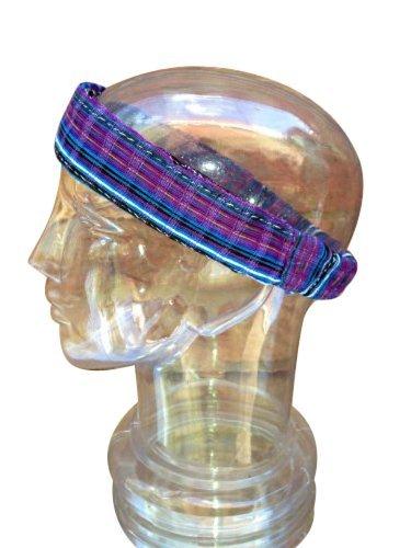 Inspirit Arts Medium Blue Purple Headband Expandable Handwoven Open Net Weave Lightweight Bandana Headwrap Elastic 100% Cotton Hair Scarf front-560832